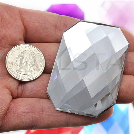 "Giant Octagon Gems Flat Back 62x42mm / 2-7/16 x 1-1/16"" 2 Pcs"