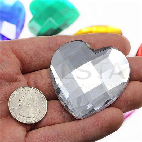 "Self Adhesive Giant Heart Gems Flat Back 50mm / 2"" 1 Pc"