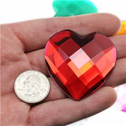 "Self Adhesive Giant Heart Gems Flat Back 50mm / 2"" 1 Pc"