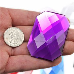 "Self Adhesive Giant Octagon Gems Flat Back 62x42mm / 2-7/16 x 1-1/16"" 1 Pc"