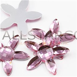 "Large Flower Jewels Flat Back 32mm / 1-1/4"" 5 Pcs"