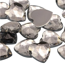 Heart Acrylic Gems Flat Back 15mm 40 Pcs