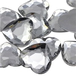 Heart Acrylic Gems Flat Back 18mm 30 Pcs