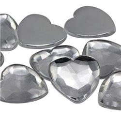 Heart Acrylic Gems Flat Back 25mm 18 Pcs