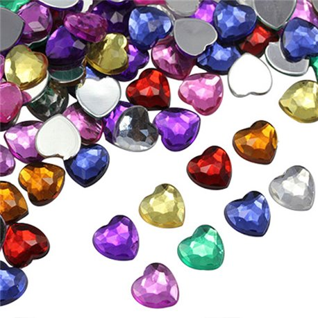 Flat Back Acrylic Heart Rhinestones in Bulk 10x5mm Assorted Colors 200 Pcs