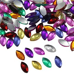 Flat Back Acrylic Navette Gems in Bulk Marquise Horse Eye 10x5mm Assorted 200 Pcs