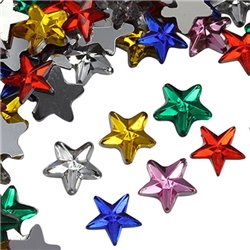 Star Rhinestones in Bulk Flat Back Acrylic Craft Gems 8mm Assorted Colors 200 Pcs