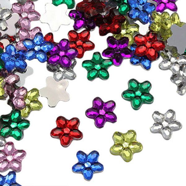 A38 100pcs 8mm Flat Back Acrylic Rhinestones Face Decorations Face Gems Square