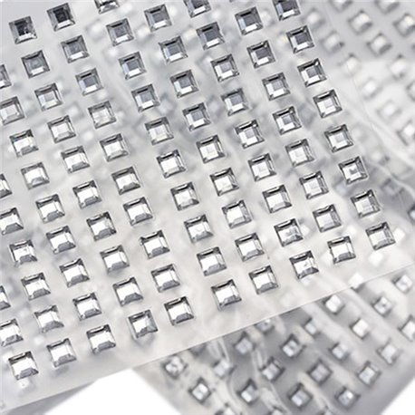 Auto-adh�sif Carr� Gemmes 4mm 1 Sheet / 100 Msx
