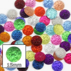 Baroque Acrylic Flat Back Cabochons 15mm 30 Pcs