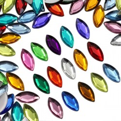 Navette Acrylic Gems Flat Back 15x7mm 40 Pcs