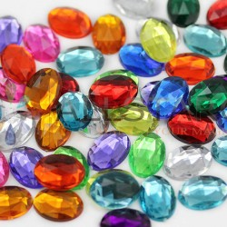 Oval Acrylic Gems Flat Back 8x6mm  100 Pcs