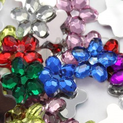 Flower Acrylic Gems Flat Back 8mm 100 Pcs