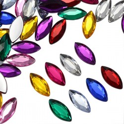 Navette Acrylic Gems Flat Back 20x9mm 25 Pcs