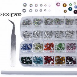 Over 2000 Pieces Flat Back Gems Nail Art Kit Round Crystal Rhinestones 6 Sizes (1.5mm-6mm)