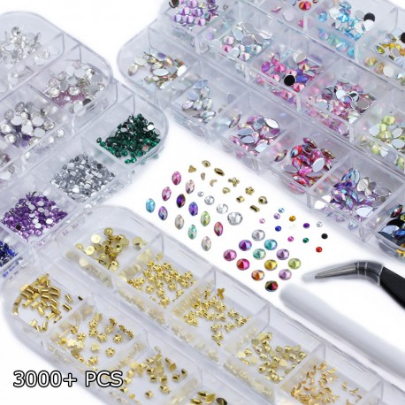 Over 3000 Pieces Flat Back Gems Nail Art Kit Assorted Shapes Rhinestones 6 Sizes (2mm-6mm)