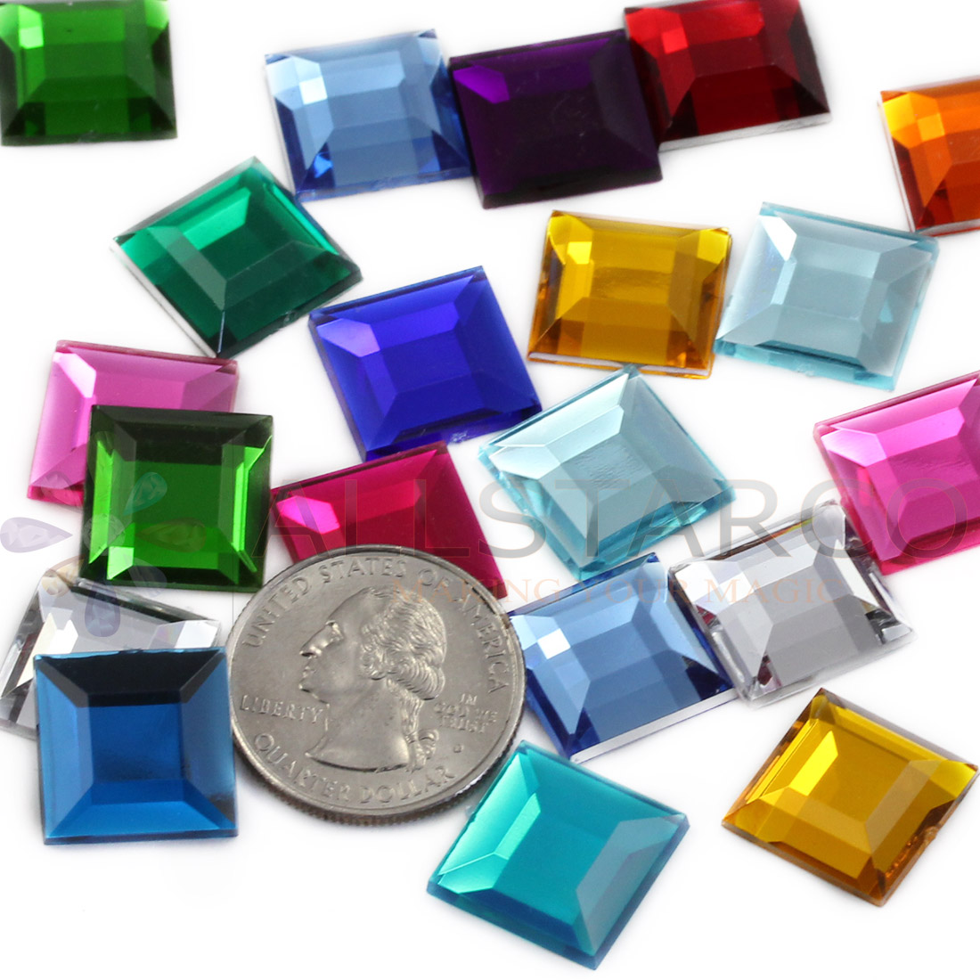 assorted 15mm square flat back acrylic rhinestones allstarco