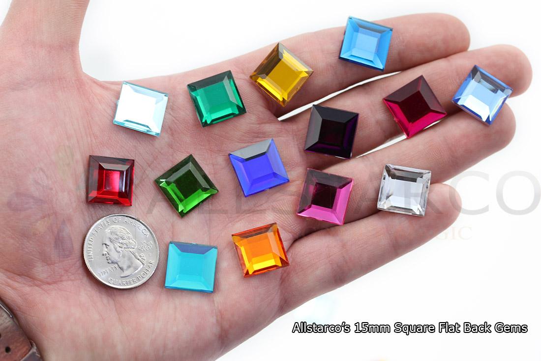 15mm square flat back acrylic rhinestones allstarco