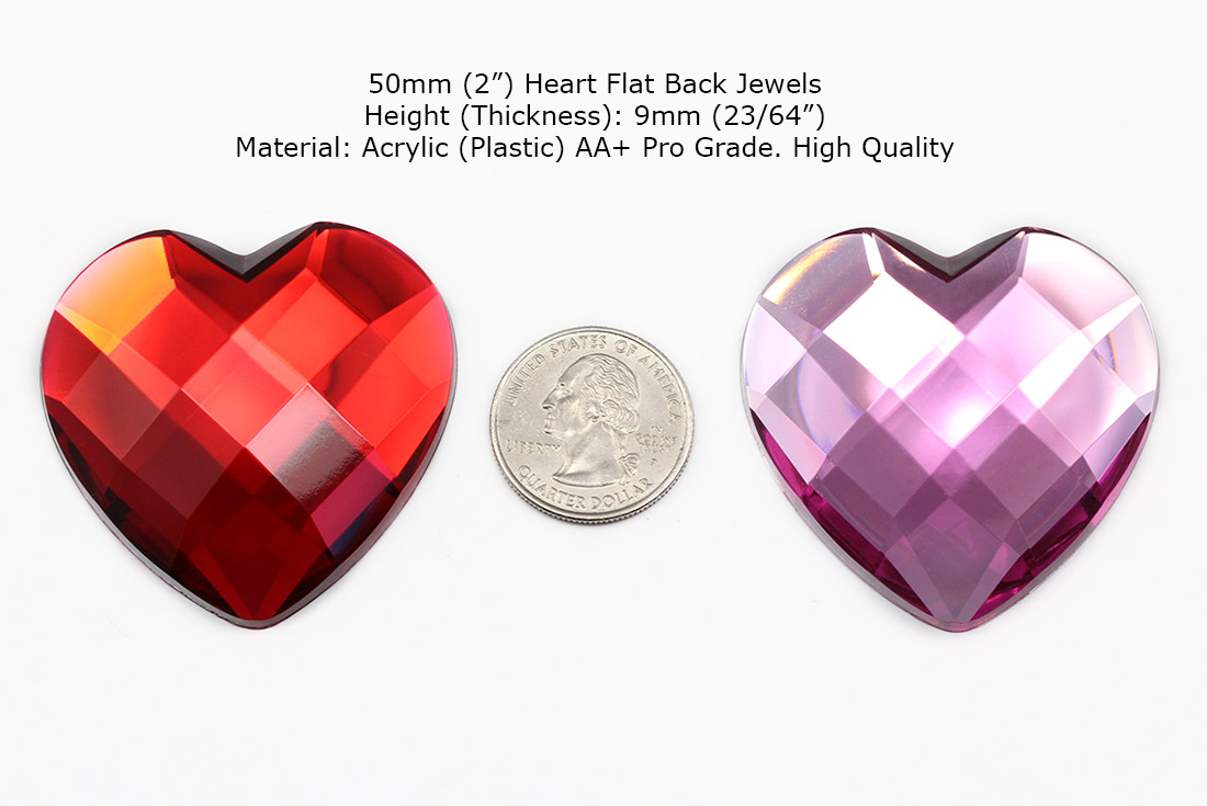 red and pink heart acrylic rhinestones next to quarter large for cosplay and diplays