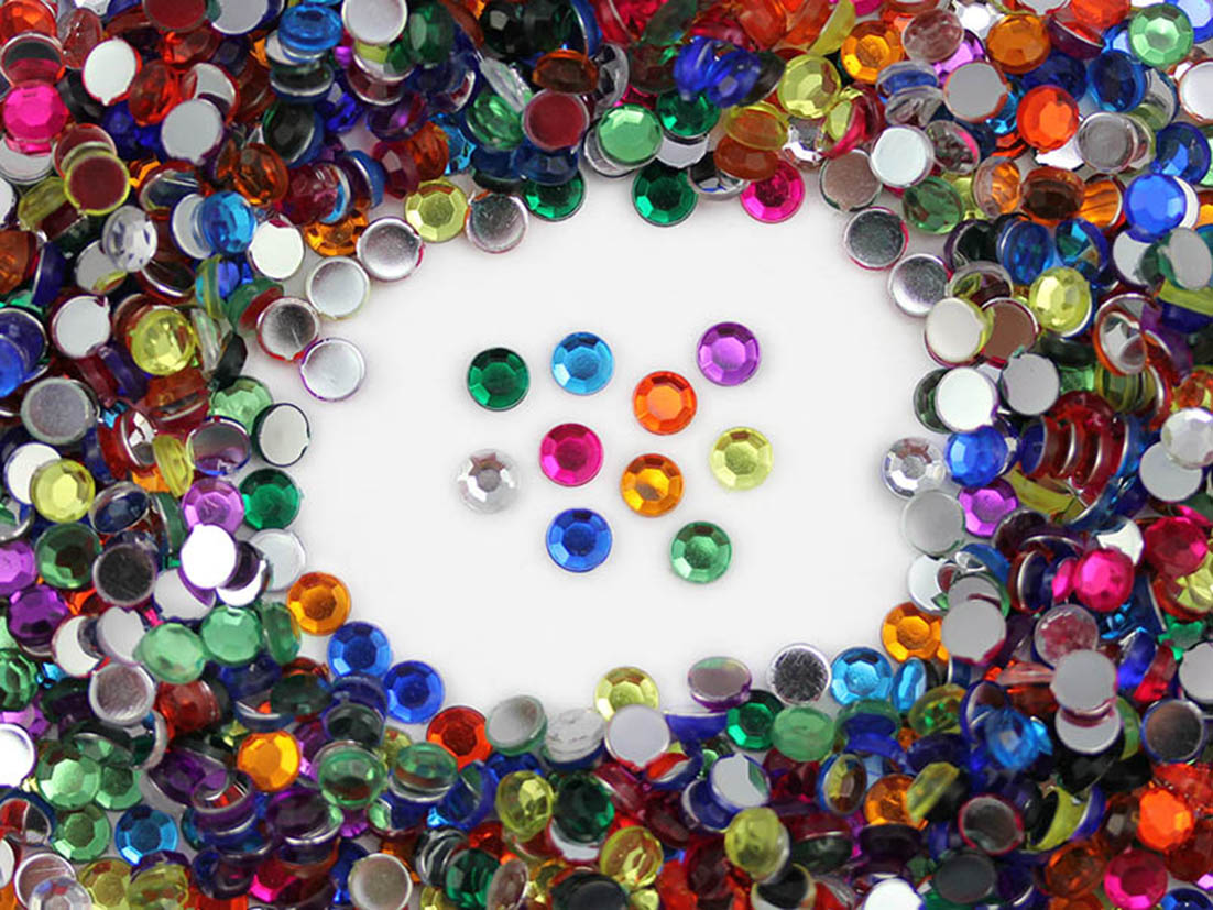 Acrylic rhinestones flat back multicolor assorted middle