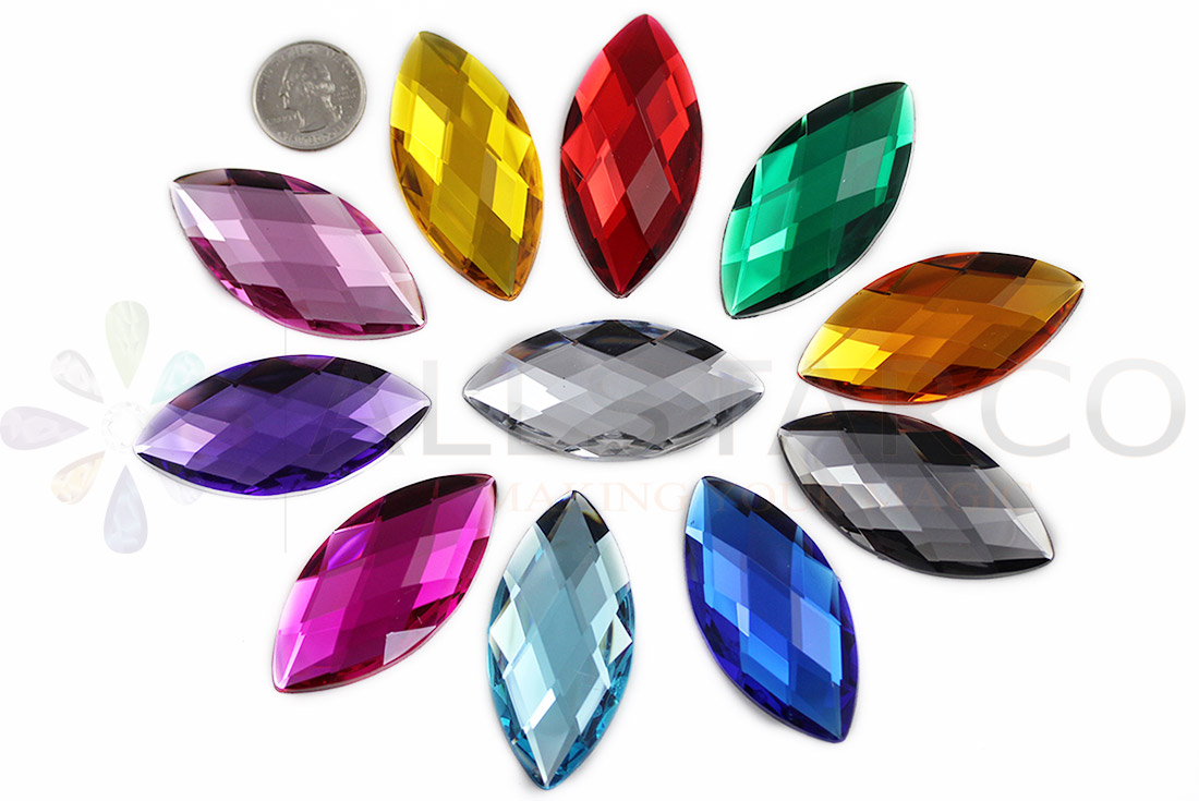 navette acrylic flat back rhinestones gems for cosplay