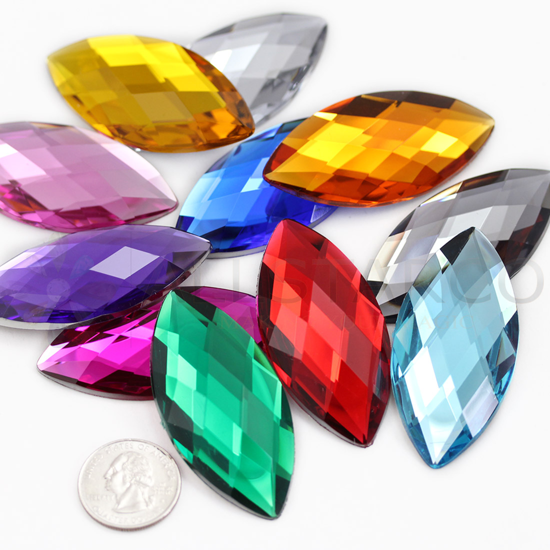 navette large marquise horse eye acrylic flat back rhinestones gems for cosplay
