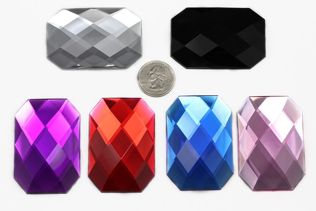 acrylic octagon gemstones flat back extra large