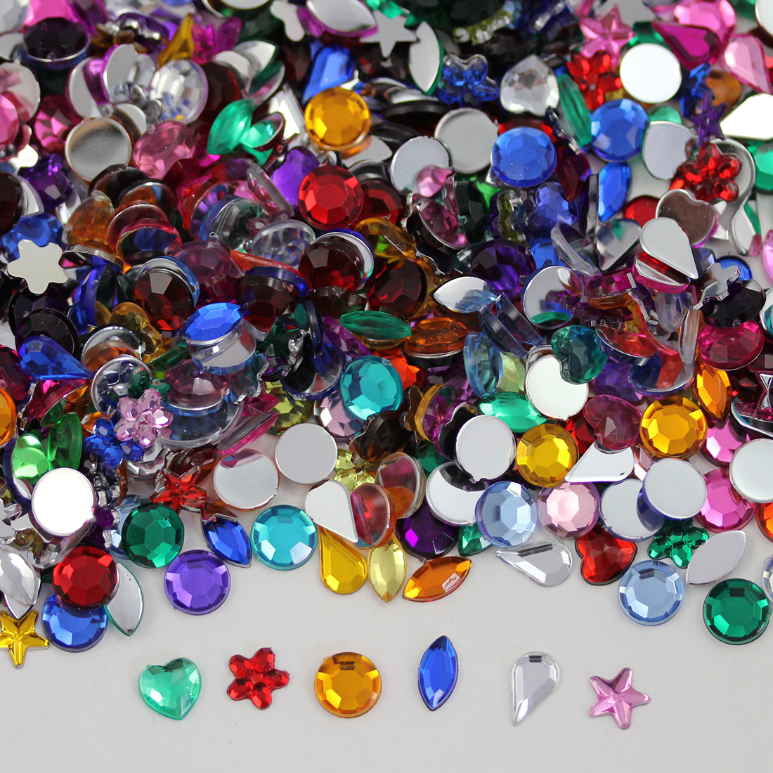 assorted acrylic rhinestones 8mm 10mm