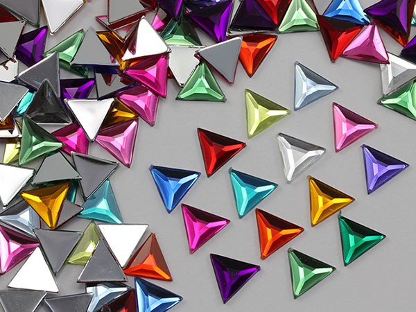 triangle acrylic flat back rhinestones gems for cosplay