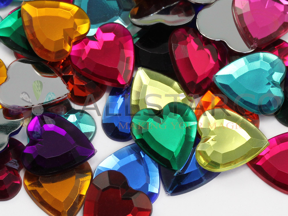 Flat Back Heart Gems