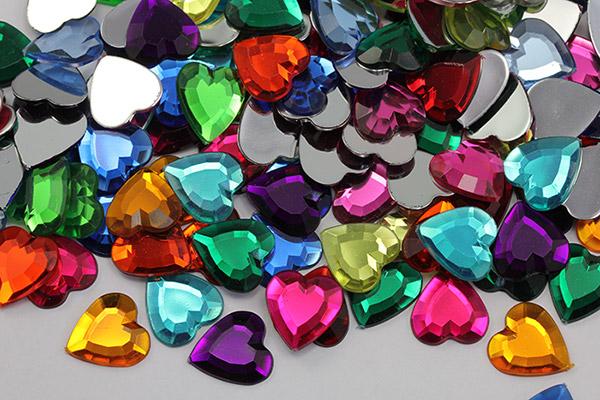 heart acrylic flat back rhinestones