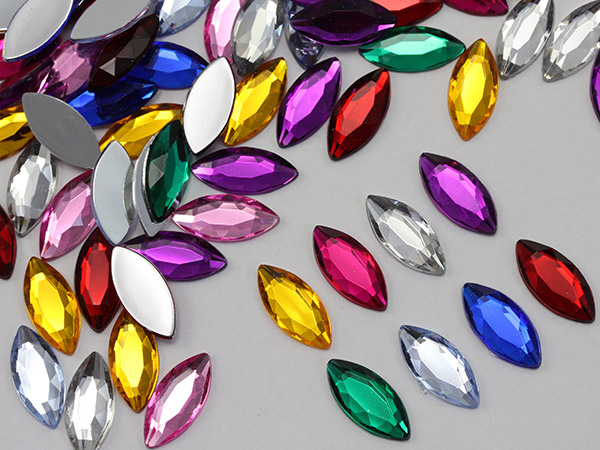 navette acrylic flat back rhinestones gems for cosplay