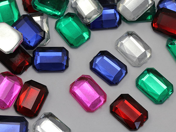 25mm octagon acrylic gems flat back