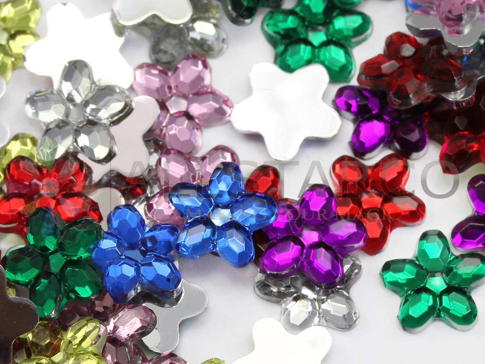 flower acrylic flat back gems