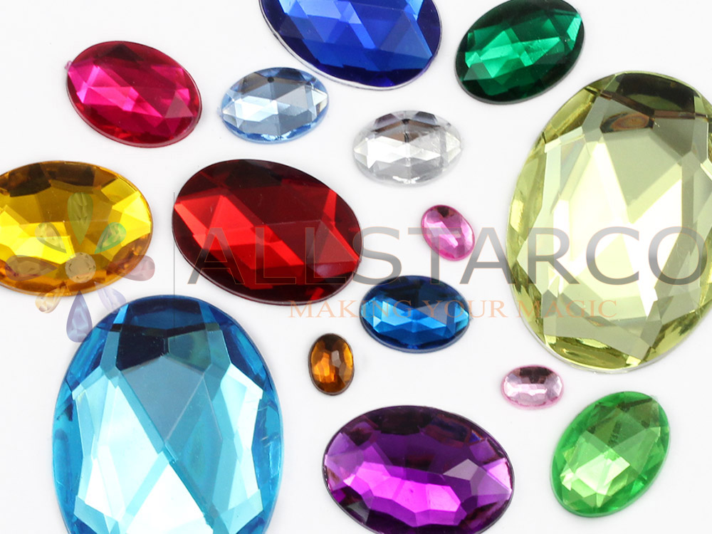 assorted sizes, colors oval flat back gems