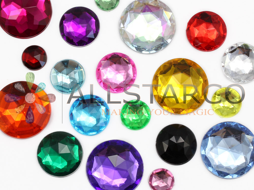 flat back acrylic rhinestones in crystal color size chart next to quarter