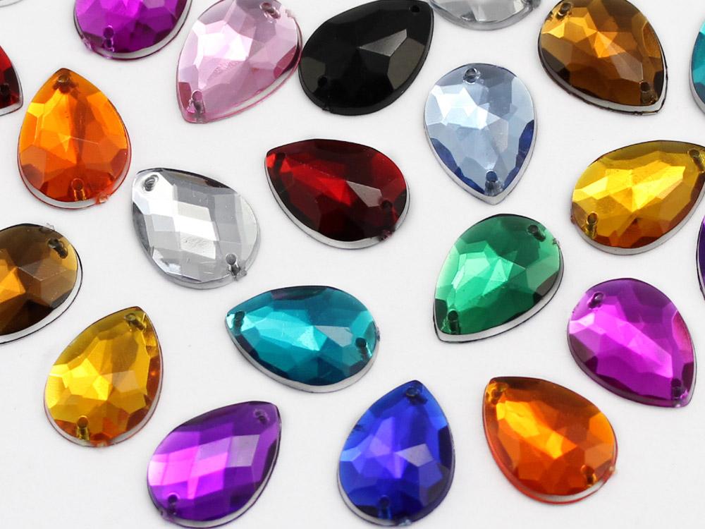 teardrop sew on acrylic flat back rhinestones gems for cosplay