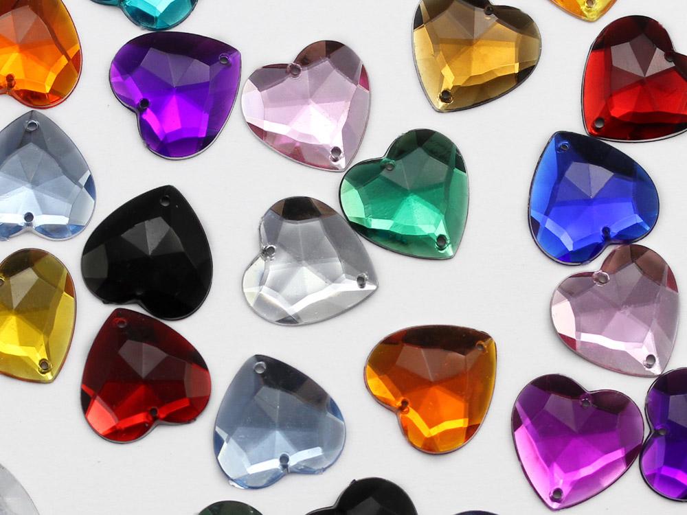 sew on heart acrylic flat back rhinestones gems for cosplay
