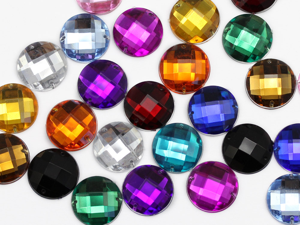 allstarco sew on round acrylic gems rhinestones jewels assorted colors multi