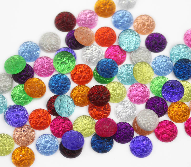 assorted round baroque cabochons acrylic flat back rhinestones gems for cosplay