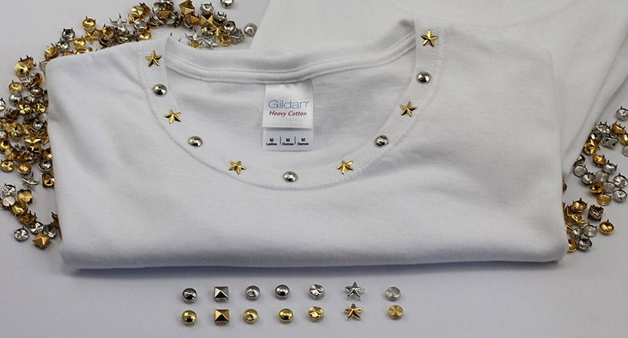 studs diy on white tshirt gold silver nailheads