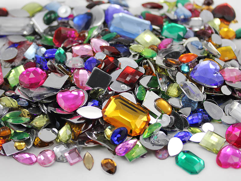 assorted crafts gems in bulk flat back