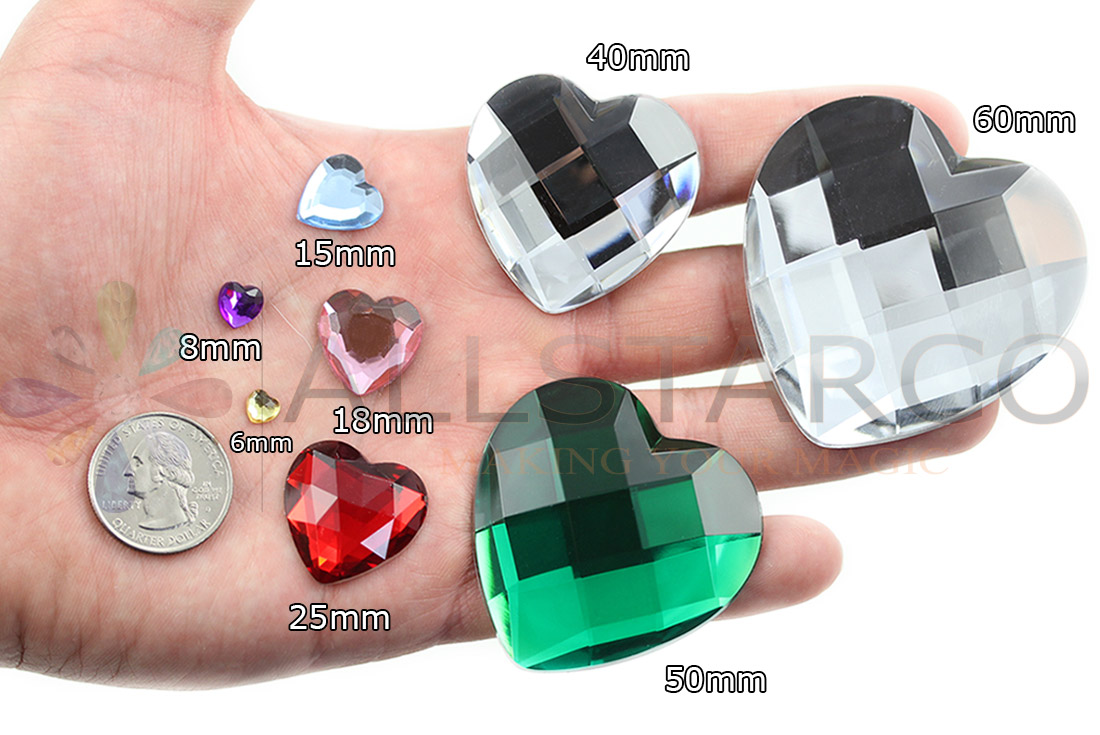 allstarco heart acrylic gems on hand next to 25 cent quarter cosplay gems rhinestones