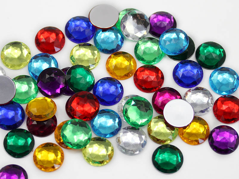 flat back round acrylic gems assorted colors multi