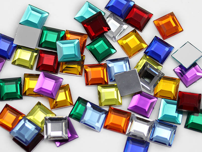 square acrylic flat back rhinestones gems for cosplay