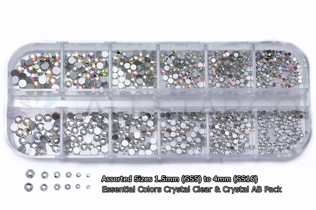 allstarco nail art kit assorted colors ab crystal clear rhinestones tiny gems crafts 1.5mm SS5 4mm SS16