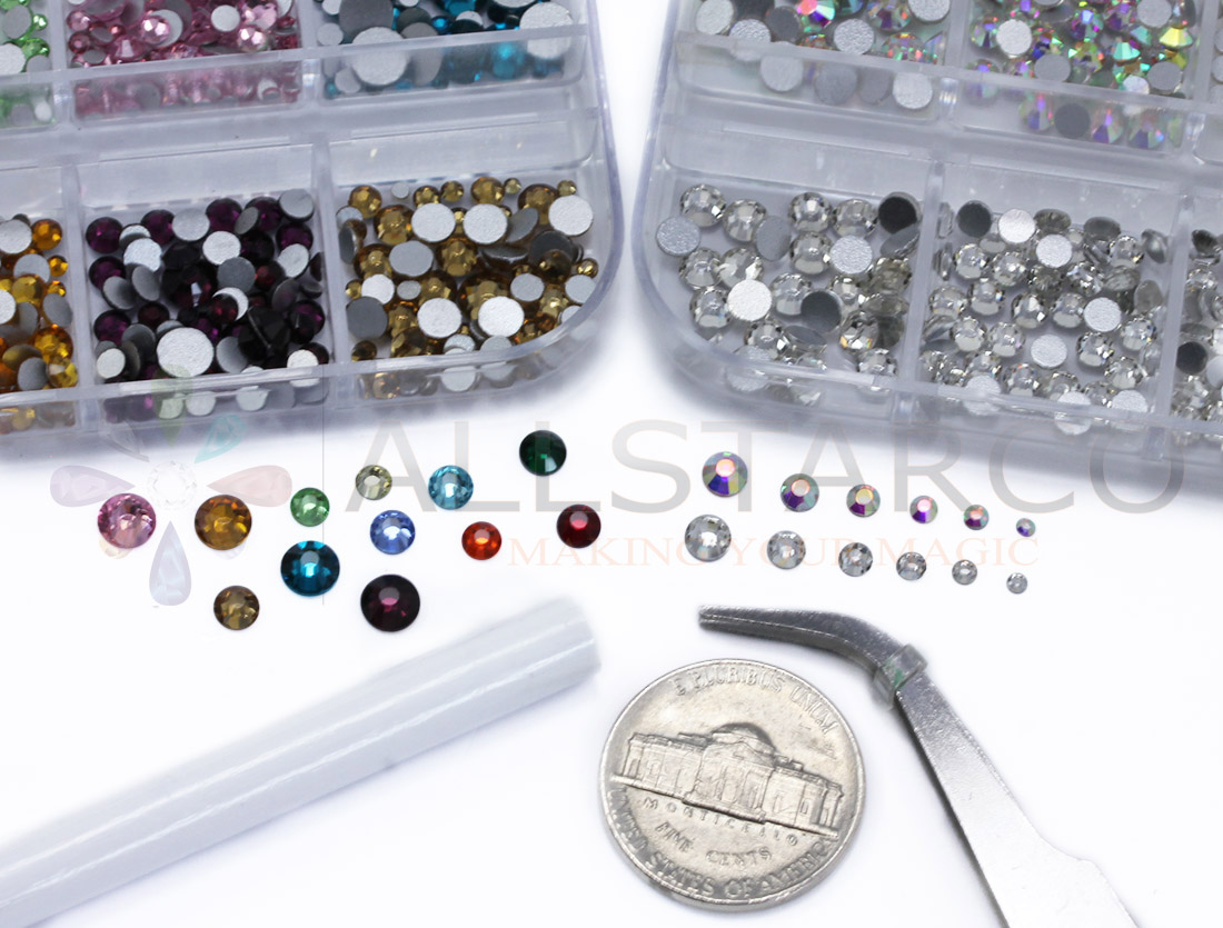 allstarco nail art kit assorted colors ab crystal clear rhinestones tiny gems crafts