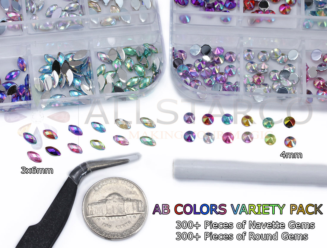 allstarco nail art kit assorted colors ab crystal clear rhinestones tiny gems crafts navette ab