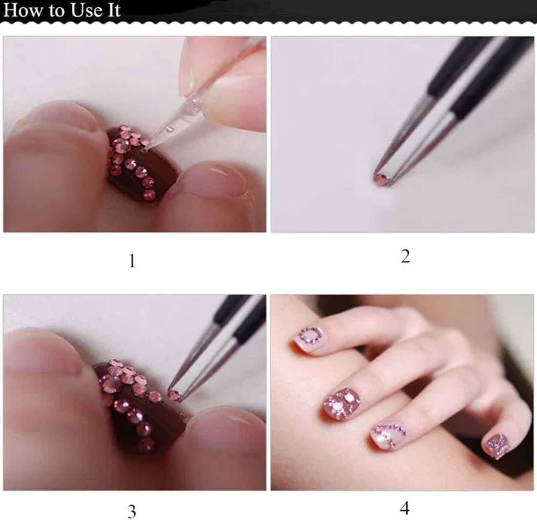 how to nail art rhinestones