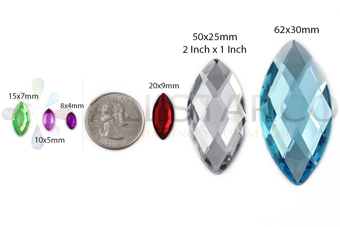 allstarco navette acrylic rhinestones size reference
